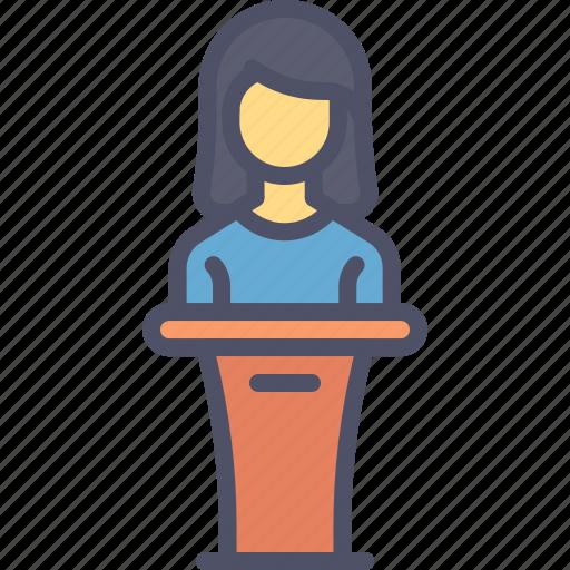 host, lady, podium, presentation, speaker icon