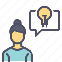 communication, creative, employee, idea, thinking