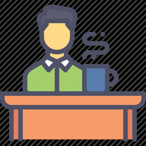 desk, employee, office, table, work icon