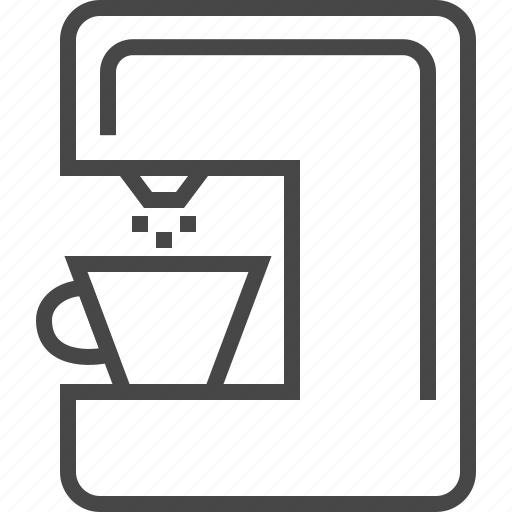 coffee maker, device, devices, drink, line, office, technology icon