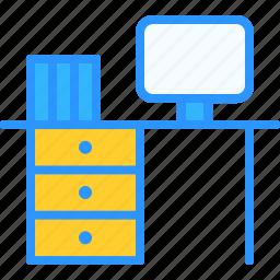 desk, equipment, job, office, work, workspace icon