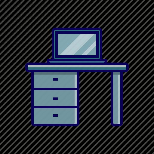 desk, laptop, office, office desk icon