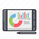 device, gadget, graph, pen tablet, report, statistics, tablet icon