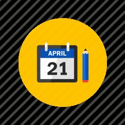 calendar, design, pencil, task, to do icon