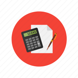 calculator, design, numbers, pen, solving icon