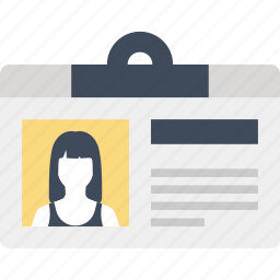 badge, card, document, id, identification, identity, profile icon