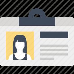 badge, card, document, id, identification, identity, profile icon