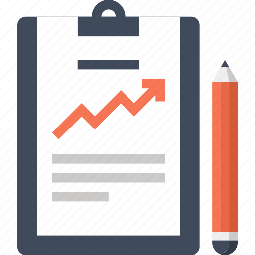 Statistics, chart, clipboard, growth, file, report, document icon