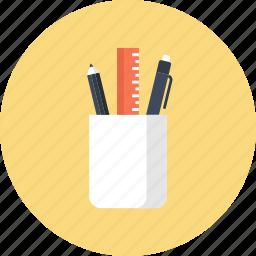 office, pen, pencil, ruler, school, supplies, tools icon