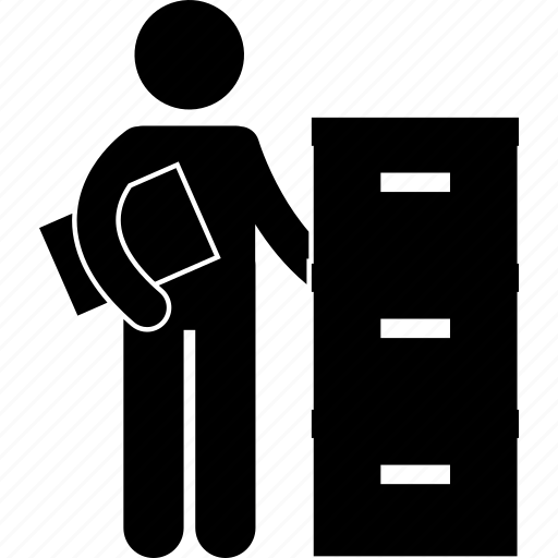 business, businessman, cupboard, drawer, keeper, man, storage icon