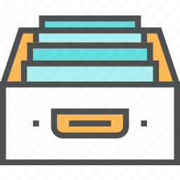 accounting, archive, box, cabinet, documents, drawer, files, storage icon
