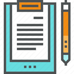 board, clip, clipboard, document, file, paper, pen, text icon