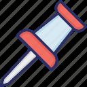 paper, paper pin, pin, pushpin, soft board pin, thumb pin icon