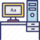 computer table, job, office, workplace, workstation icon