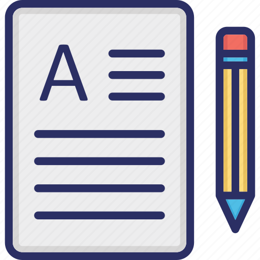 document, paper and pencil, script writing, writing pad icon