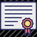 achievement certificate, award certificate, certificate, medal certificate, political certificate icon