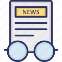 article reading, awareness, news report, newspaper reading, reading concept icon