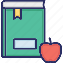 apple with book, healthy reading, knowledge, learning, scholastic icon