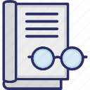 education, glasses and book, learning, novel reading, reader concept, reading icon