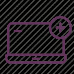 add, attach, computer, device, laptop, new icon