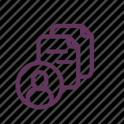 avater, file, files, folder, paper, person icon