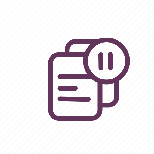 document, file, files, music, paper, pause icon
