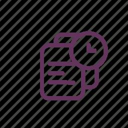 clock, file, folder, paper, timer icon