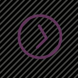 chevron, circle, next, playback, right icon