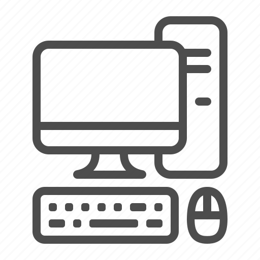 computer, desktop, keyboard, monitor, mouse, pc, tower case icon