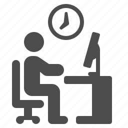 clock, cubicle, desk, job, man, office, working icon