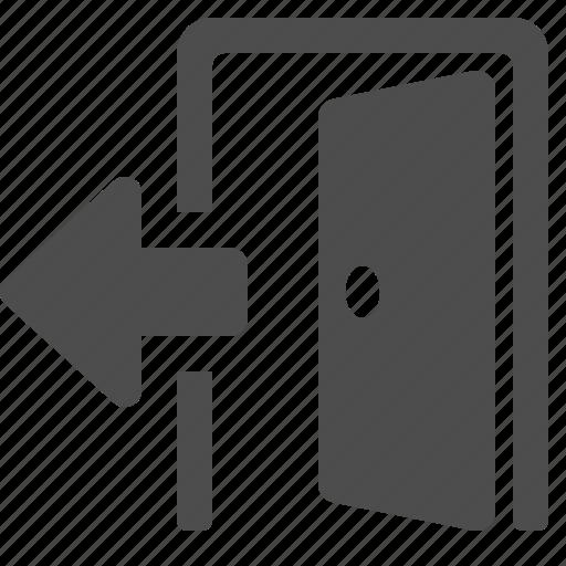 arrow, door, open, real estate icon