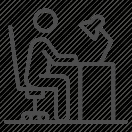 chair, desk, desk lamp, man, sitting, working icon