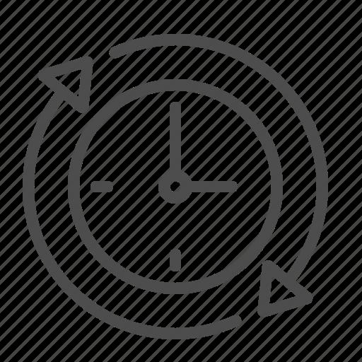 around the clock, arrows, clock, job, time icon