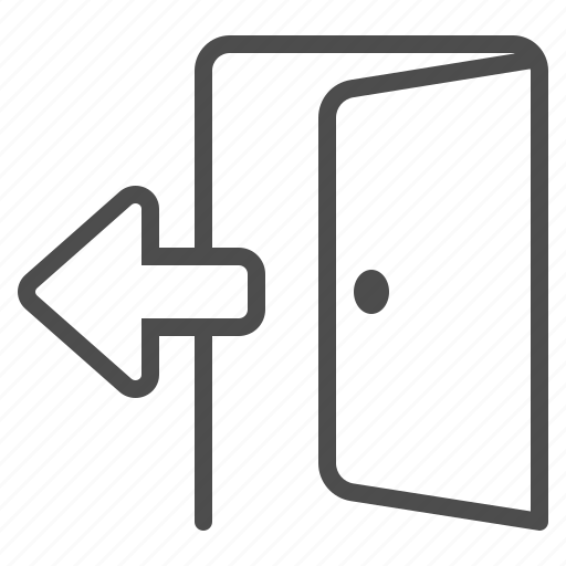 arrow, door, doorway, entrance, exit, opened icon