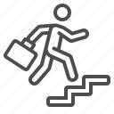 businessman, career, man, running, stairs, success icon