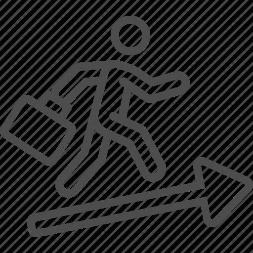 arrow, briefcase, career, man, running, success icon