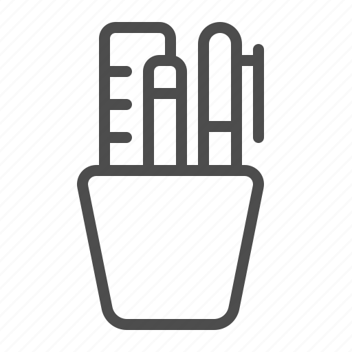 cup, office, pen, pencil, ruler, suppliers icon