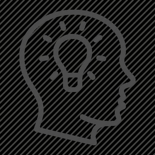 creativity, head, idea, light bulb, mind, thinking icon