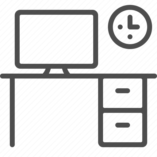 clock, computer, desk, screen, workplace icon