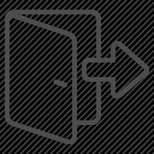 arrow, door, doorway, entrance, exit icon