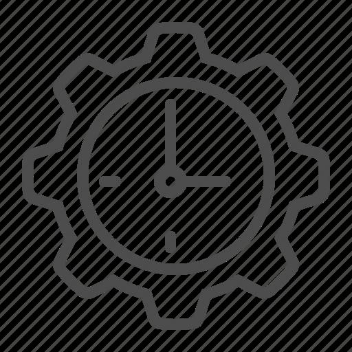 clock, cog, gear, time icon
