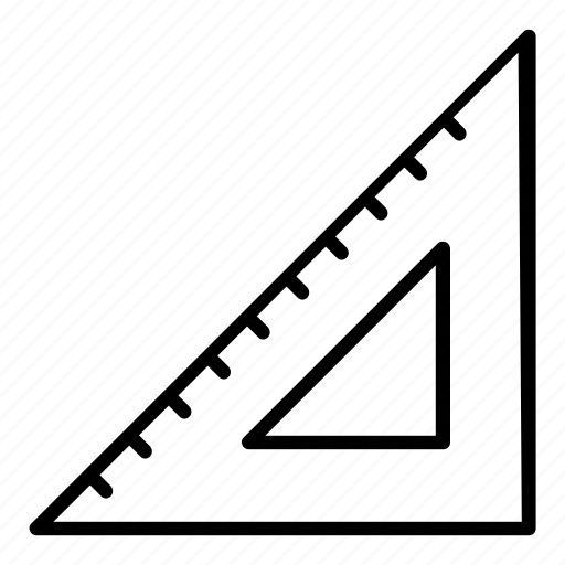 cm, inches, office, ruler, triangle, triangular, triangular ruler icon