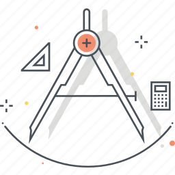 circule, compasses, draw, precission, tool icon
