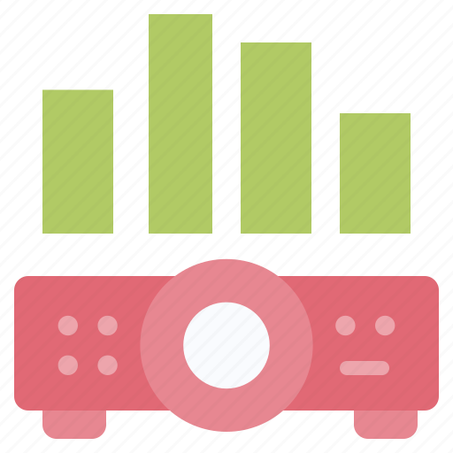 chart, device, graph, presentation, projector icon