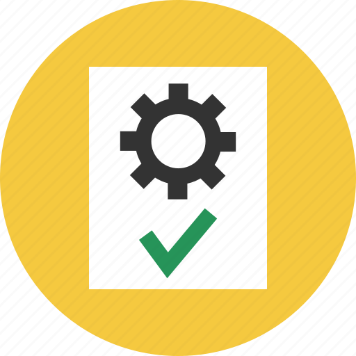 approve, document, file, gear, page, settings icon