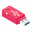 usb, data usb, external storage, flash drive, universal serial bus icon