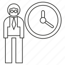 clock, man, office, people, time, worker icon