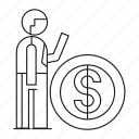 coin, dollar, man, money, office, people, worker icon