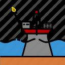 colour, energy, oil & gas, platform, rig, seaice icon