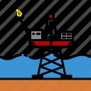colour, energy, oil & gas, platform, rig, steelpiled icon